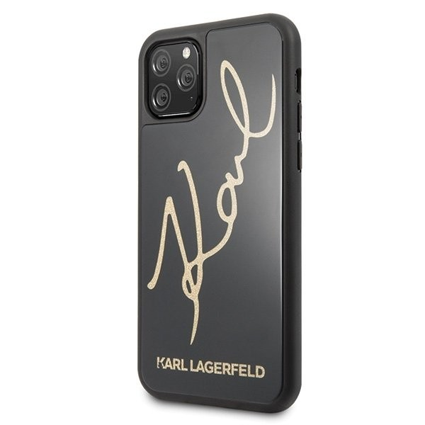 Husa Originala Premium Karl Lagerfeld iPhone 11 Pro Signature Glitter Negru Gold imagine itelmobile.ro 2021