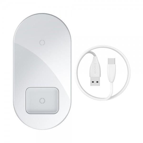 Incarcator Premium De Birou Wireless Baseus Simple 2 In 1 Pentru Telefon Si Airpods 18w Alb imagine itelmobile.ro 2021