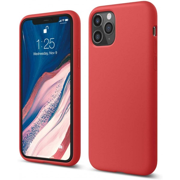 Husa Silicon Apple Style Fara Logo iPhone 11 Pro Interior Alcantara Rosu imagine itelmobile.ro 2021