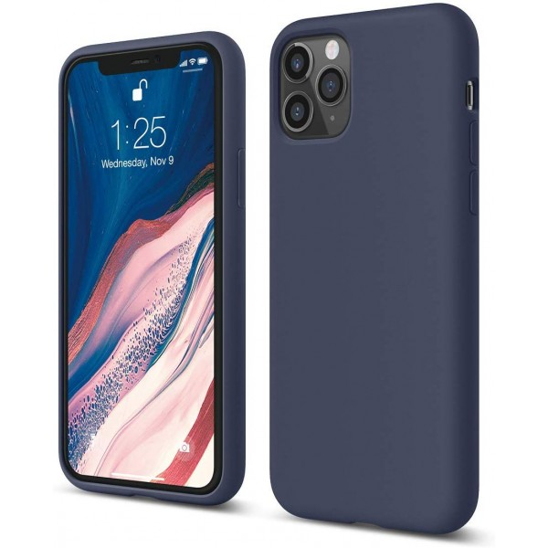 Husa Silicon Apple Style Fara Logo iPhone 11 Pro Interior Alcantara Navy imagine itelmobile.ro 2021