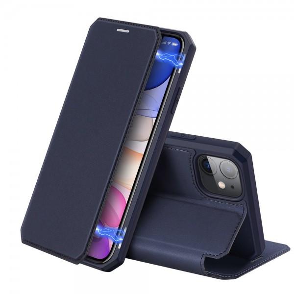 Husa Premium Duxducis Skin X iPhone 11 Flip Cover, Blue imagine itelmobile.ro 2021