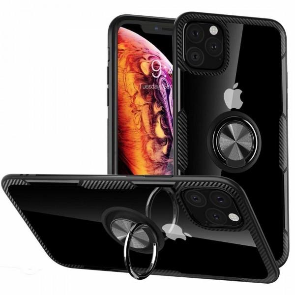 Husa Spate Premium Iring Metalic Upzz Clear iPhone 11 Pro Max Cu Ring Metalic Pe Spate Transparent imagine itelmobile.ro 2021
