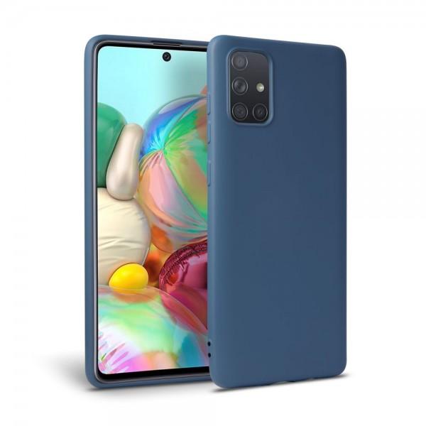 Husa Silicon Soft Upzz Samsung Galaxy A71 Interior Alcantara Navy Blue imagine itelmobile.ro 2021