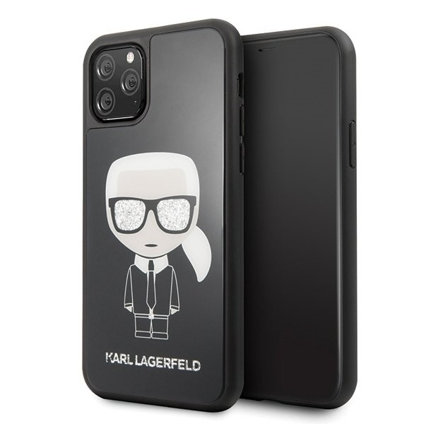Husa Premium Karl Lagerfeld iPhone 11 Pro Glitter Iconic Karl Head Negru imagine itelmobile.ro 2021