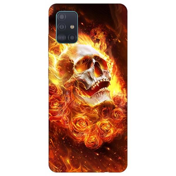 Husa Silicon Soft Upzz Print Samsung Galaxy A71 Model Flame Skull imagine itelmobile.ro 2021