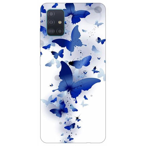 Husa Silicon Soft Upzz Print Samsung Galaxy A71 Model Blue Butterflys imagine itelmobile.ro 2021