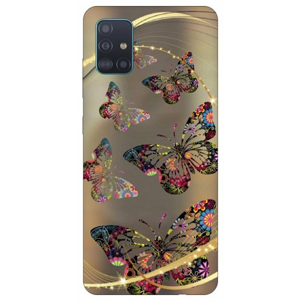Husa Silicon Soft Upzz Print Samsung Galaxy A51 Model Golden Butterfly imagine itelmobile.ro 2021