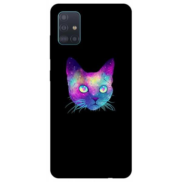 Husa Silicon Soft Upzz Print Samsung Galaxy A71 Model Neon Cat imagine itelmobile.ro 2021