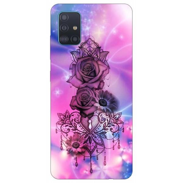 Husa Silicon Soft Upzz Print Samsung Galaxy A71 Model Neon Rose imagine itelmobile.ro 2021