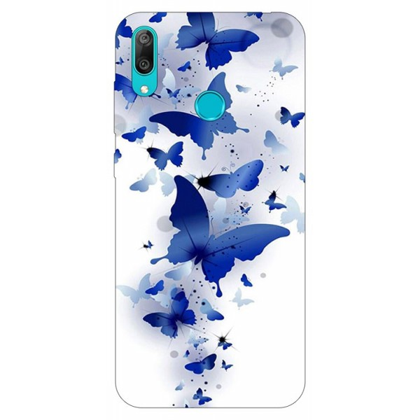 Husa Silicon Soft Upzz Print Huawei Y7 2019 Model Blue Butterfly imagine itelmobile.ro 2021