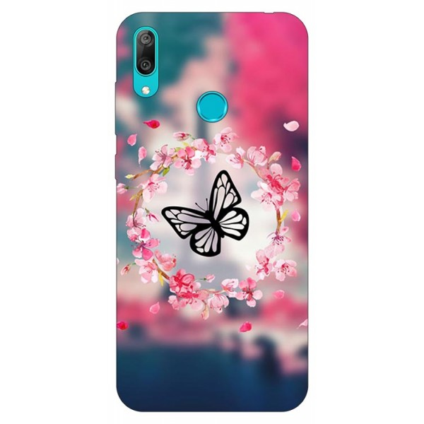 Husa Silicon Soft Upzz Print Huawei Y7 2019 Model Butterfly imagine itelmobile.ro 2021