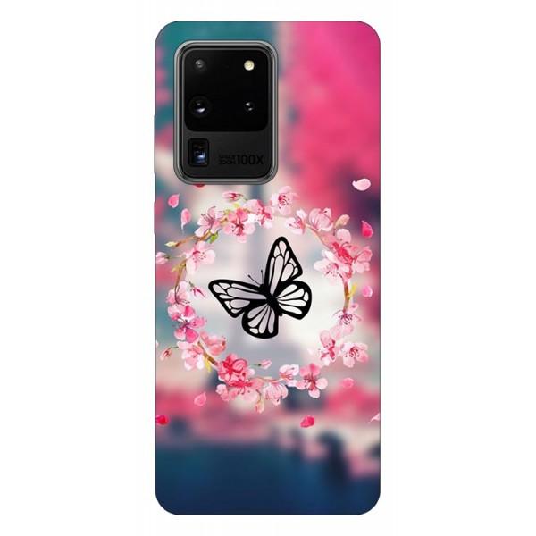 Husa Silicon Soft Upzz Print Samsung Galaxy S20 Ultra Model Butterfly imagine itelmobile.ro 2021