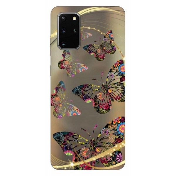 Husa Silicon Soft Upzz Print Samsung Galaxy S20 Plus Model Golden Butterfly imagine itelmobile.ro 2021