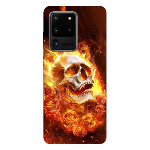 Husa Silicon Soft Upzz Print Samsung Galaxy S20 Ultra Model Flame Skull imagine itelmobile.ro 2021