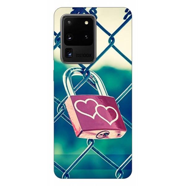 Husa Silicon Soft Upzz Print Samsung Galaxy S20 Ultra Model Heart Lock imagine itelmobile.ro 2021