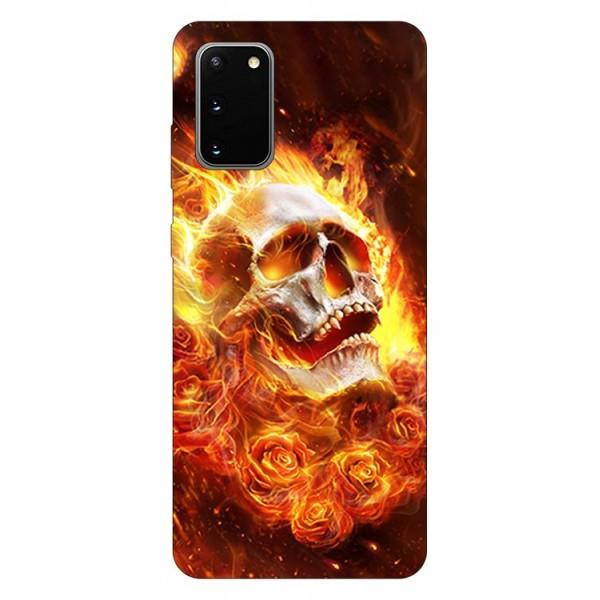 Husa Silicon Soft Upzz Print Samsung Galaxy S20 Model Flame Skull imagine itelmobile.ro 2021