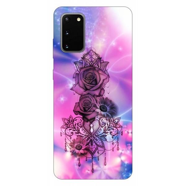 Husa Silicon Soft Upzz Print Samsung Galaxy S20 Model Neon Rose imagine itelmobile.ro 2021