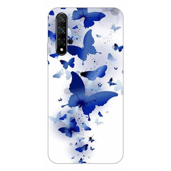 Husa Silicon Soft Upzz Print Huawei Nova 5t Model Blue Butterfly imagine itelmobile.ro 2021