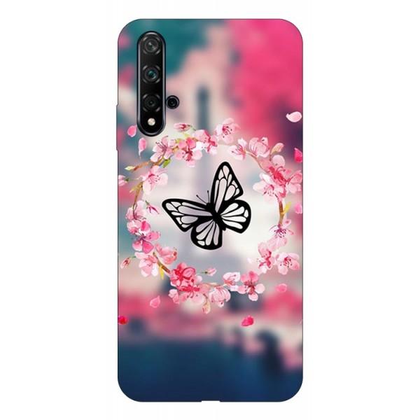 Husa Silicon Soft Upzz Print Huawei Nova 5t Model Butterfly imagine itelmobile.ro 2021