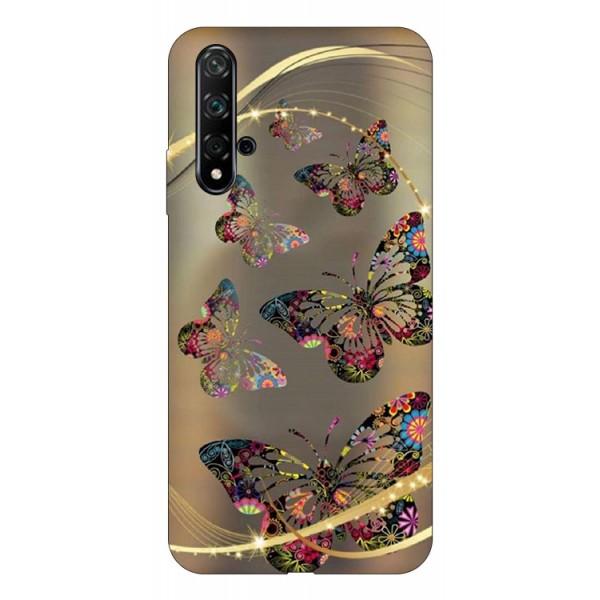 Husa Silicon Soft Upzz Print Huawei Nova 5t Model Golden Butterfly imagine itelmobile.ro 2021