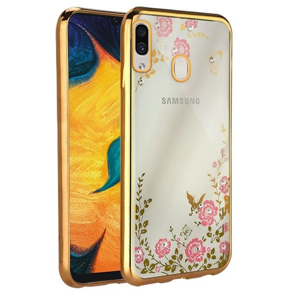 Husa Spate Flower Diamond Samsung A30 Gold Silicon imagine itelmobile.ro 2021