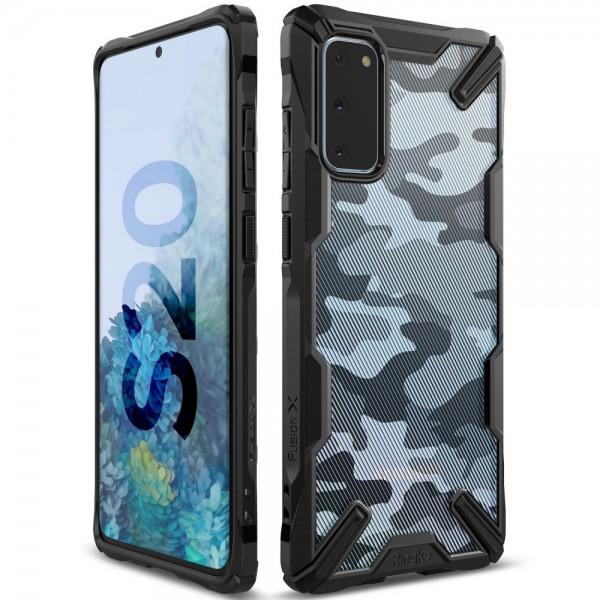 Husa Premium Ringke Fusion X Samsung Galaxy S20 Camo Black imagine itelmobile.ro 2021
