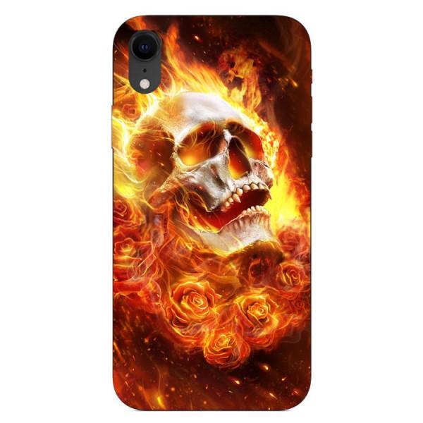 Husa Silicon Soft Upzz Print iPhone Xr Model Flame Skull imagine itelmobile.ro 2021