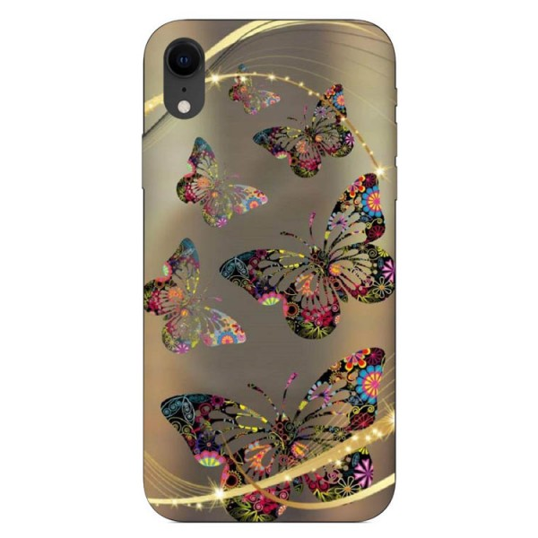 Husa Silicon Soft Upzz Print iPhone Xr Model Golden Butterfly imagine itelmobile.ro 2021