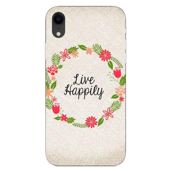 Husa Silicon Soft Upzz Print iPhone Xr Model Happily imagine itelmobile.ro 2021