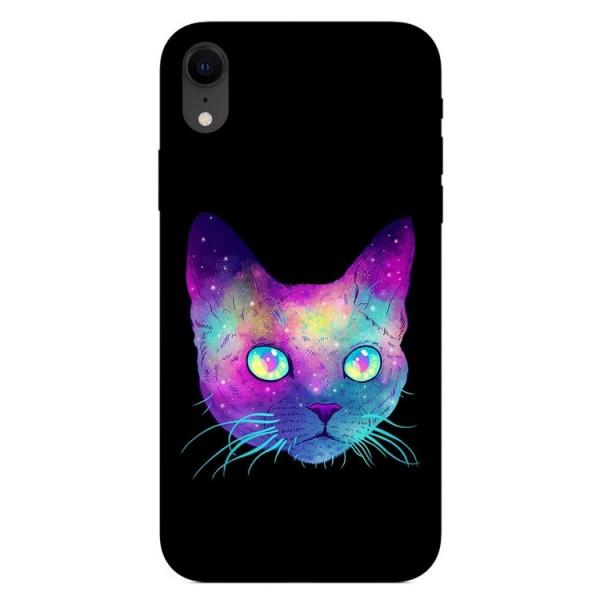 Husa Silicon Soft Upzz Print iPhone Xr Model Neon Cat imagine itelmobile.ro 2021