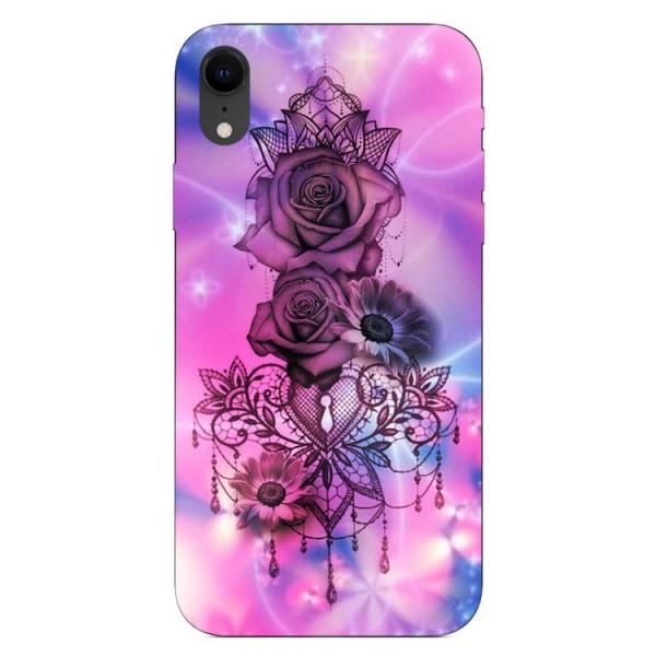 Husa Silicon Soft Upzz Print iPhone Xr Model Neon Rose imagine itelmobile.ro 2021