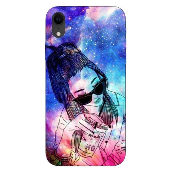 Husa Silicon Soft Upzz Print iPhone Xr Model Universe Girl imagine itelmobile.ro 2021
