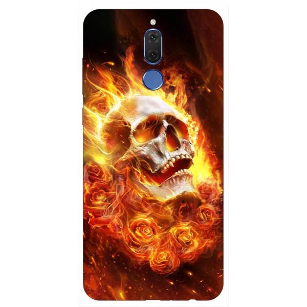 Husa Silicon Soft Upzz Print Huawei Mate 10 Lite Model Flame Skull imagine itelmobile.ro 2021