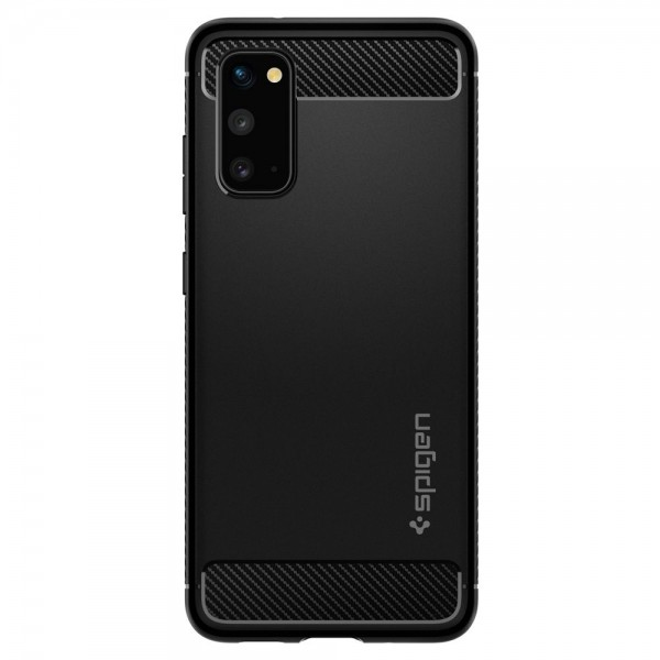 Husa Premium Originala Spigen Rugged Armor Samsung Galaxy S20, Negru Silicon imagine itelmobile.ro 2021