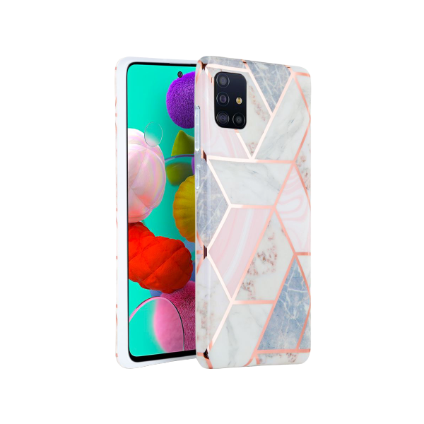Husa Spate Tech-protect Marble Silicone Samsung Galaxy A51 Pink imagine itelmobile.ro 2021