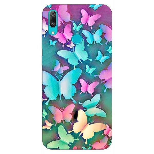 Husa Silicon Soft Upzz Print Huawei Y7 2019 Model Colorfull Butterfly imagine itelmobile.ro 2021