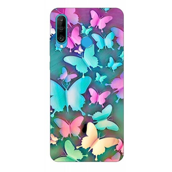 Husa Silicon Soft Upzz Print Huawei P30 Lite Model Colorfull Butterflies imagine itelmobile.ro 2021