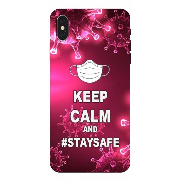 Husa Silicon Soft Upzz Print iPhone Xs Max Model Stay Safe imagine itelmobile.ro 2021