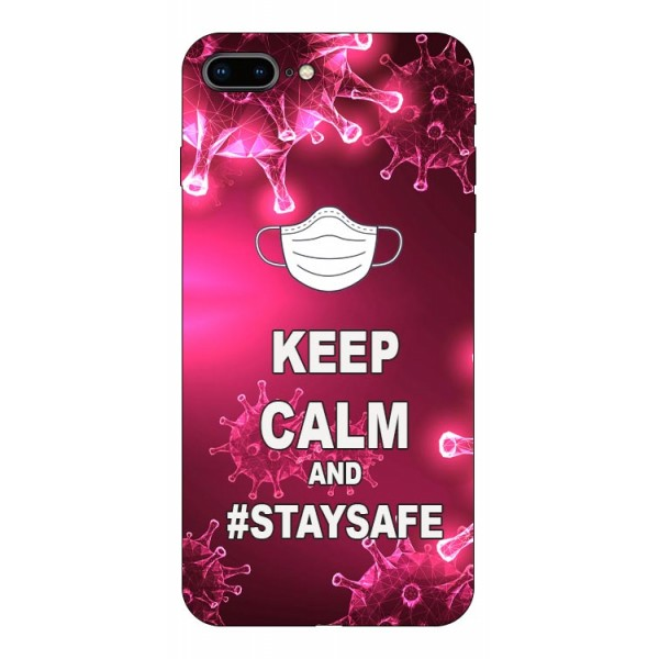 Husa Silicon Soft Upzz Print iPhone 7+ 8+ Model Stay Safe imagine itelmobile.ro 2021