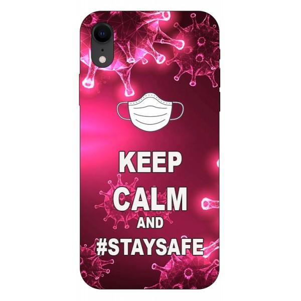 Husa Silicon Soft Upzz Print iPhone Xr Model Stay Safe imagine itelmobile.ro 2021