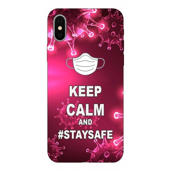 Husa Silicon Soft Upzz Print iPhone X/ Xs Model Stay Safe imagine itelmobile.ro 2021