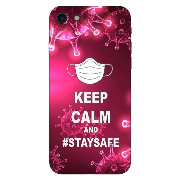 Husa Silicon Soft Upzz Print iPhone 7 / iPhone 8 Model Stay Safe imagine itelmobile.ro 2021