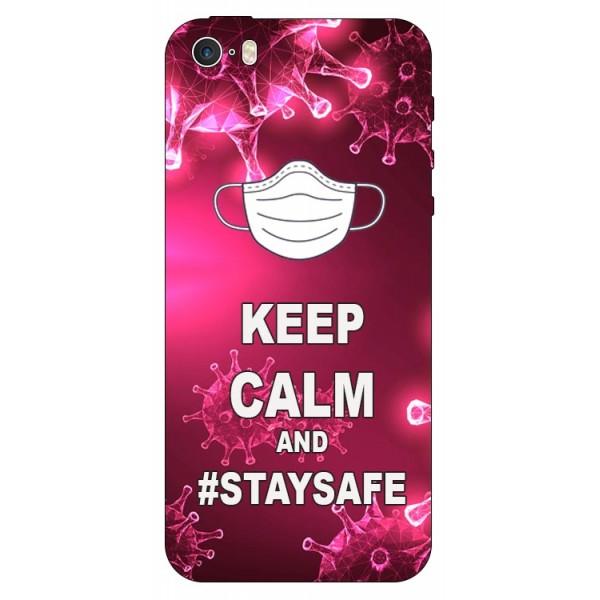 Husa Silicon Soft Upzz Print iPhone 5/5s/se Model Stay Safe imagine itelmobile.ro 2021