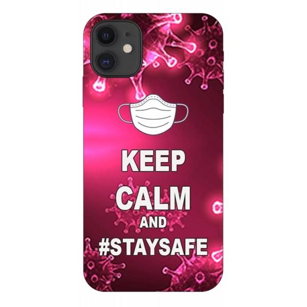 Husa Silicon Soft Upzz Print iPhone 11 Model Stay Safe imagine itelmobile.ro 2021