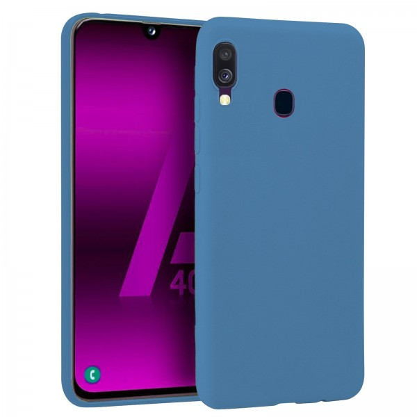 Husa Premium Upzz Liquid Silicon Pentru Samsung Galaxy A40 Cu Invelis Alcantara La Interior , Albastru imagine itelmobile.ro 2021