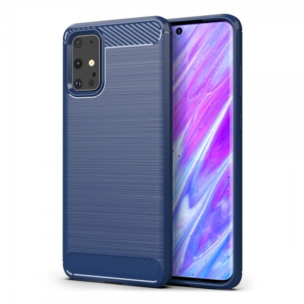 Husa Spate Carbon Pro Samsung Galaxy S20+ Plus ,albastru Navy imagine itelmobile.ro 2021