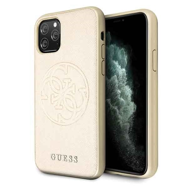 Husa Spate Premium Originala Guess Saffiano 4g Circle Logo iPhone 11 Pro-gold imagine itelmobile.ro 2021