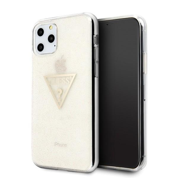 Husa Spate Premium Guess iPhone 11 Pro Glitter Triangle Gold -guhcn58sgtlgo imagine itelmobile.ro 2021