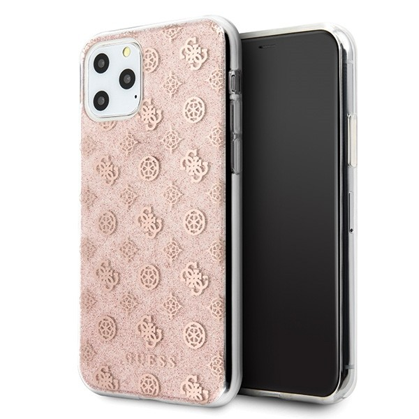 Husa Spate Originala Guess iPhone 11 Pro Peony Glitter Roz -guhcn58tperg imagine itelmobile.ro 2021