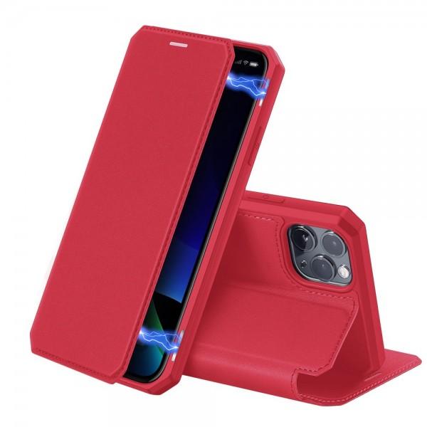 Husa Premium Duxducis Skin X iPhone 11 Pro Rosu Flip Cover imagine itelmobile.ro 2021